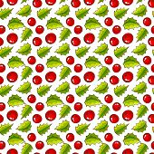 Seamless Pattern With Holly. Christmas Background.