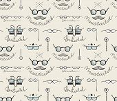 Glasses Labeles Sketchy Drawing Seamless Pattern