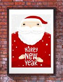 Santa Claus with Merry Christmas Label for Holiday Invitations and Greeting Cards. Xmas Poster, Banner, Placard or Card Template. Winter Illustration with Snowflakes. Brick Wall Background.