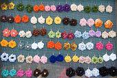 Handmade Earrings  Made Of Wool And Plastic
