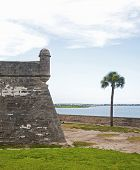 Tower, walls and field of the old Castillo de San Marcos