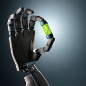 stock photo of genetic engineering  - Robotic hand holding a test tube with a dna inside - JPG