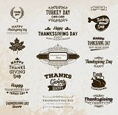 Set of Thanksgiving Day Labels. Holiday Designs. Vintage Paper Background. poster