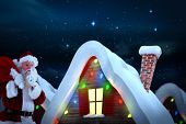 Santa claus carrying sack against stars twinkling in night sky
