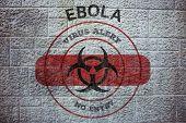 Ebola virus alert against grey brick wall