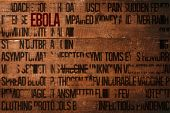 Ebola word cluster against overhead of wooden planks