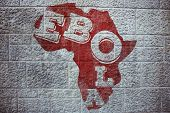 Red ebola text on africa outline against grey brick wall