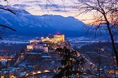City and castle Hohensalzburg at sunset - Salzburg Austria