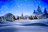 Cute christmas village against snowy landscape with fir trees