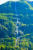 Beautiful Waterfall In Norway Fjords