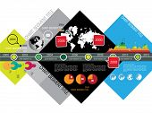 World globe timeline infographic, vector