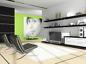 Home interior 3D rendering. Photo on wall was made by me, I uploaded model's release