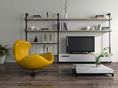 Modern interior with yellow armchair
