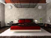 Luxurious bedroom in red 3D rendering