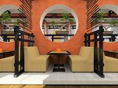 Modern cafe in Japanese style 3D rendering