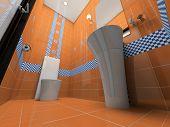 Interior of the orange bathroom 3D