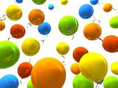 Colorful party balloons 3D rendering