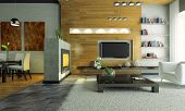 View on the modern apartment with fireplace 3D. Photo in magazine was made by me, I uploaded model's release