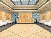 Reception in modern hotel 3D rendering