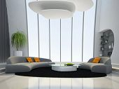 Interior of the round living-room 3D rendering