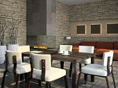 Interior of the living-room with fireplace 3D rendering
