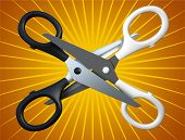 Pair of the scissors isolated on background 3D rendering