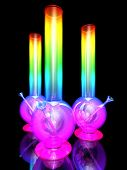 Three bongs isolated on black background 3D rendering
