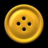 Yellow button for clothing isolated on black background 3D rendering