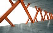 Beams and concrete structure 3D rendering