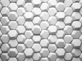 Abstract pattern of hexahedron white pieces illustration