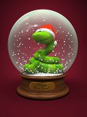 Snake in the snow globe - symbol of New Year illustration
