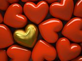 Red  hearts and one gold heart isolated on background 3D rendering