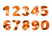 orange crumpled numerals isolated on white background