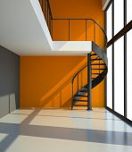 Empty room with staircase and orange wall in waiting for tenants illustration