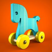 Blue wood horse toy on red background (symbol of the new year 2014) 3D