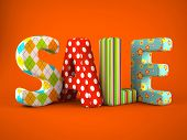 Sale word colorful fabric on grey background 3D