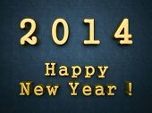 2014 happy new year gold words on blue background 3d