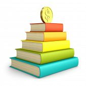 Stack of colorful books with coin on the top isolated on white background 3D