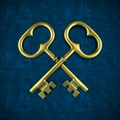 Two golden key isolated on blue background 3D