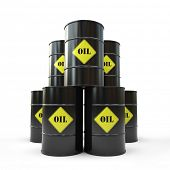 Pyramid of black oil barrel 3D