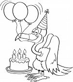picture of buzzard  - Black and white illustration of a buzzard wearing a party hat with a birthday cake and balloons - JPG