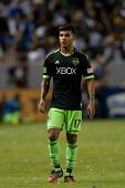 CARSON, CA - OCT 19: DeAndre Yedlin during the Los Angeles Galaxy MLS game against the Seattle Sounders on October 19th 2014 at the StubHub Center.