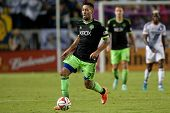 CARSON, CA - OCT 19: Clint Dempsey in action during the Los Angeles Galaxy MLS game against the Seattle Sounders on October 19th 2014 at the StubHub Center.