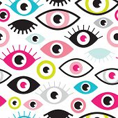Seamless colorful retro eye witness cartoon illustration background pattern in vector