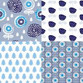 Seamless winter blue retro garden flowers and nature elements for christmas illustration background pattern in vector