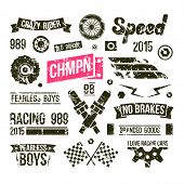Car Races Club Badges In Retro Style