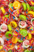 many different tasty candies, pile