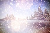 Twinkling stars against white snow and stars design