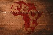 Red ebola text on africa outline against overhead of wooden planks