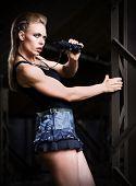 Young woman in uniform with binoculars (dark ver)